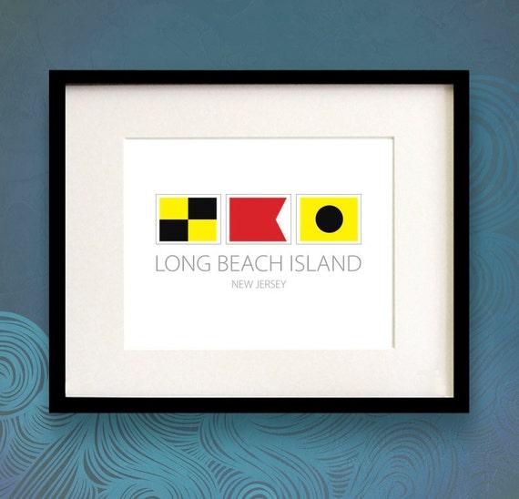Long Beach Island New Jersey: Nautical Flag Art Print