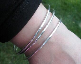 Bangle Bracelet, Sterling Silver, 10-gauge, Hammered Bangle, Stacking Bracelets, Silver Bracelet
