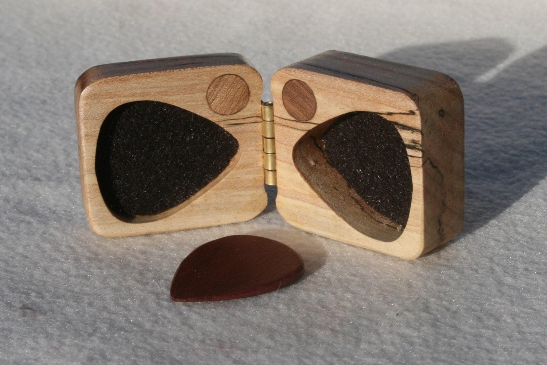 wooden guitar pick box ooak oregon myrtle hard wood by debandf. Black Bedroom Furniture Sets. Home Design Ideas
