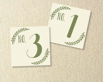 Printable Grecian Wedding Table Numbers