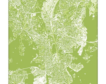 Helsinki Cityscape / Finland Map Art Print City Wall Art / 8x10 Poster / Choose your color