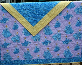 crib quilt, Cinderella, full-size, blue, yellow & Lavender