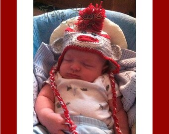 Sock Monkey Hat with tails.