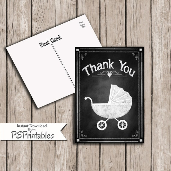printable diy baby shower thank you cards rustic chalkboard etsy