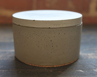 Large Gray Concrete Jar/Salt Cellar. Discontinued/Factory Second