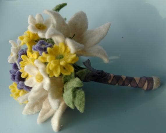 Handmade felt flower wedding bouquet