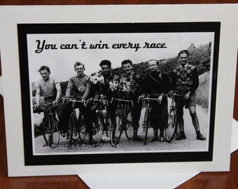 Encouragement Greeting Card - Vintage Photo - 1950's - Bicycle - Black & White - Positive - Sports - Europe - Support - Bike - Race