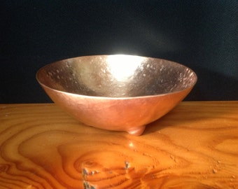 Hand Hammered Bubble Footed Copper Bowl