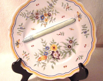 Antique French Faience Asparagus Plate Desvres Fourmaintraux