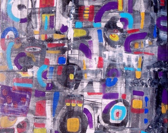 """Original modern abstract painting contemporary art decor 30"""" by MARTLEQUIN number 479"""