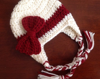 Valentines Hat, Baby Cream Hat and Burgundy Bow Girls Valentines Beanie Baby Valentines Crochet Hat