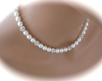 Bridal Jewelry Pearl Backdrop Necklace Swarovski Crystal and Pearls