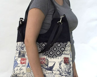 Extra Large Tote/ Travel Stamp Fabric/ Vegan Friendly/ Fabric Handmade Purse/ Artisan Made Bag