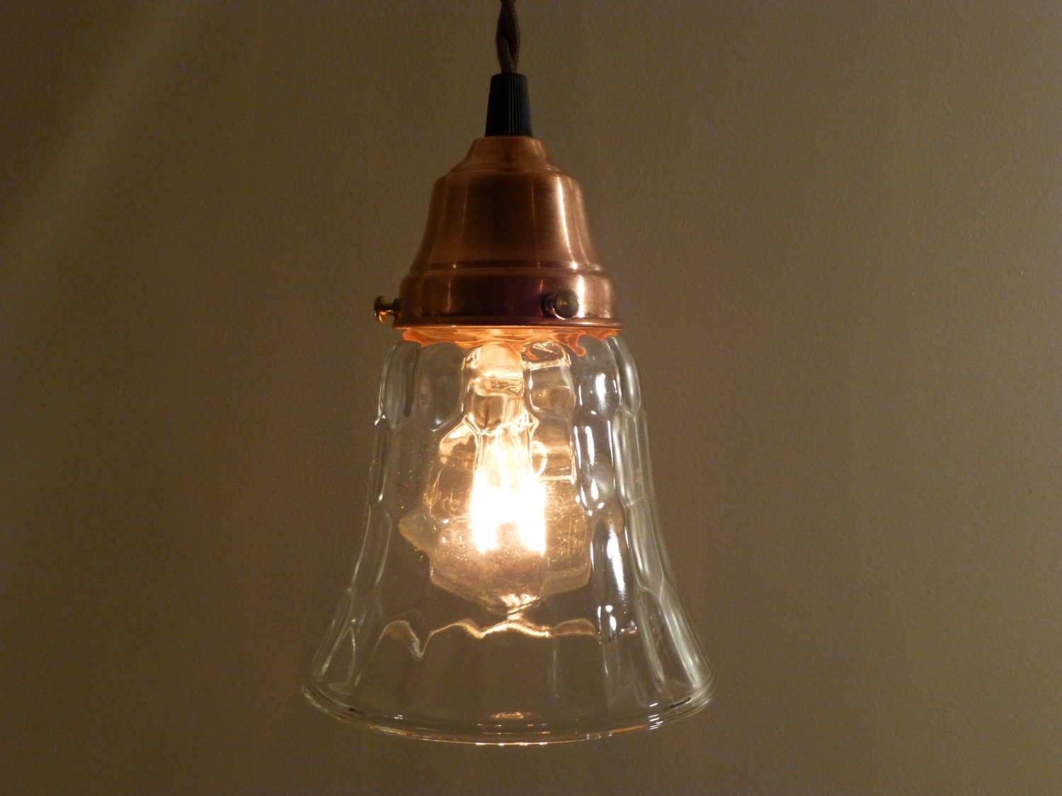 Kitchen Lights Over Island Copper Pendant Light With Hammered Glass By Vintagecopperworks