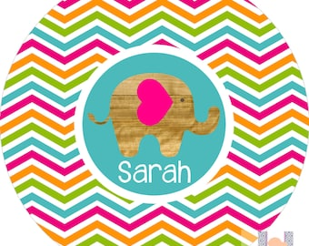 Personalized hot pink, turquoise, orange chevron melamine dinner plate. A FUN and UNIQUE gift idea! Kids love eating on personalized plates!