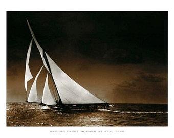 Sailing Yacht Mohawk at Sea, 1895 Photo Sailboat Art Poster Mounted Canvas Giclee Print