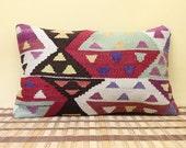Vintage fall decor Turkish pillow Wool Cushion Throw Pillow kilim lumbar pillow outdoor decoration body pillow floor cushion B-20