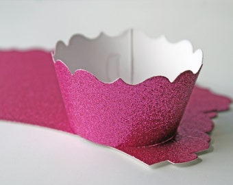 Glitter cupcake wrappers - elegant rose pink - Choose your cut (scallop or fancy)