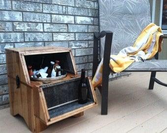Washtub Beer Cooler-Square- Oak Barn Wood - Washtub Cooler - Outdoor Living, Outdoor Furniture, Home & Living - MADE TO ORDER