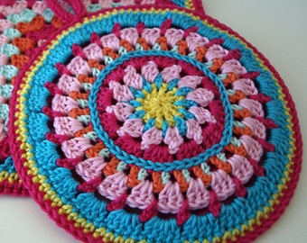 handmade crocheted set of potholders