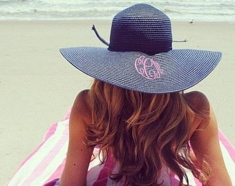 Monogrammed Hat - Beach Hat - Derby Hat - Monogram Hat, Sun Hat, Floppy Hat