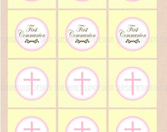 Holy baptism tag etsy studio printable first communion cupcake toppers printable first communion gift tags diy cupcake toppers by sunshinetulipdesign negle Gallery