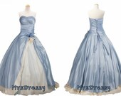 Cashmere Blue And Ivory Strapless Ball Gown, Two Tones Masquerade Princess Dress Ball Gown, Vintage Two Colors Wedding Gown MD205