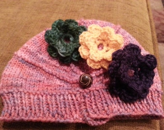 Baby Hat with interchangeable flowers