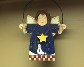Snow Angel Christmas Ornament Hand-painted Wooden Tole-painted