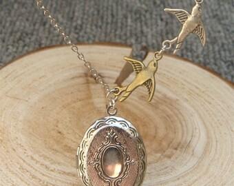 Silver Bird Locket Necklace Victorian Jewelry Gift Vintage Style