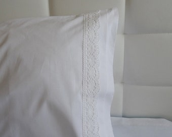50% OFF White Cotton pillow case / Cotton Lace Guipure Trimmed Bedding Pillow cover / Full Euro Queen Size Sham