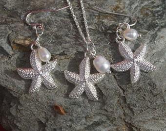 Starfish Necklace and Earring Set - Bridesmaid, Beach Wedding, Tropical, Beach, Starfish