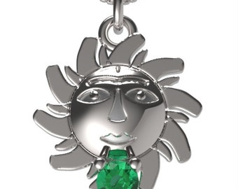 "925 Sterling Silver Sun Pendant &18"" Necklace Birthstone May Emerald"