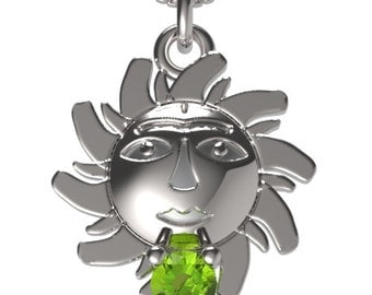 "925 Sterling Silver Sun Pendant &18"" Necklace Birthstone August Peridot"