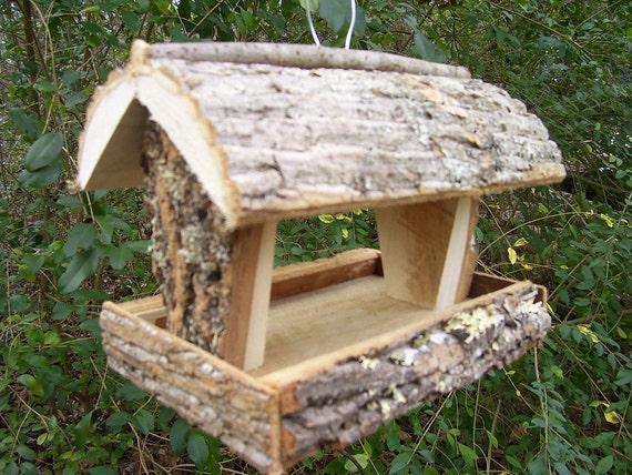 Rustic bird feeder squirrel feeder handmade in for Unique homemade bird feeders