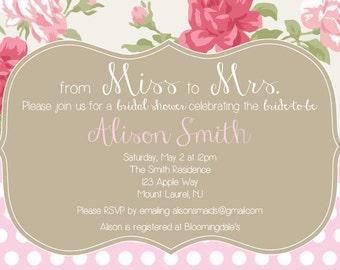 Feminine, Shabby Chic Bridal Shower Invitation PDF/ JPEG