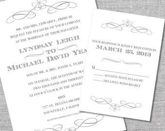 Printable Wedding Invitation and Reply Card | 5x7/3.5x5 | Formal