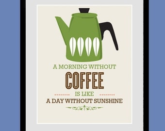 Cathrineholm Kitchen Art, A Morning Without Coffee, Coffee Print, Poster, Motivational wall art, Giclee Print, Mid-century modern