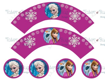 Frozen Cupcake Wrappers with Toppers Fusia (Digital File Only)
