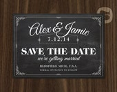 Vintage Chalkboard Wedding Save the Date Digital File or Printed Cards