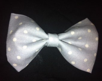 Baby boy bow tie- gray and white polka dot-clip on-newborn-infant-toddler-bow tie-trendy baby bow tie-Easter Bow Tie