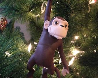 Cornelius the Monkey - Christmas Ornament - Holiday Ornament - Decoration - Custom Ornament - Handmade Ornament - Holiday Present (Hanging)
