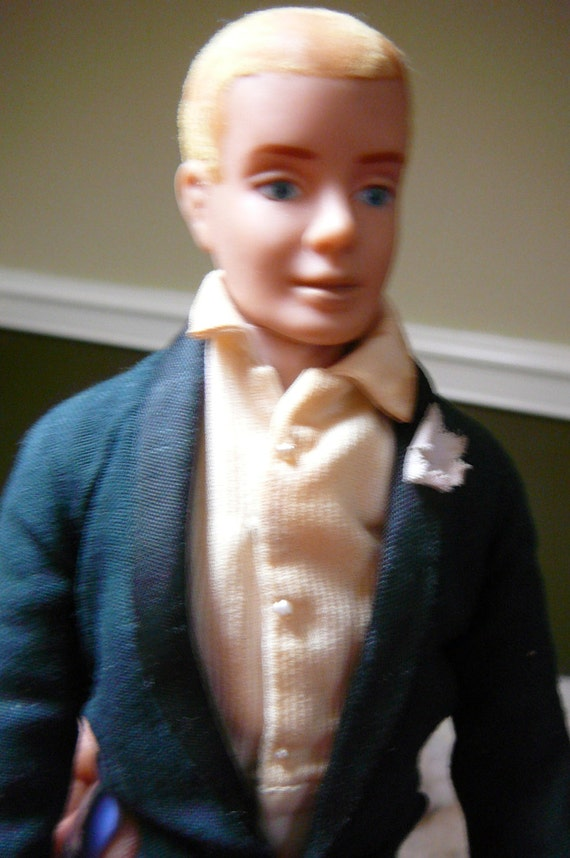 Rare Ken Doll With Blonde Flocked Hair And Wedding Day Tuxedo