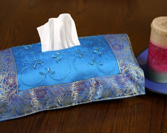 Hand Embroidered Decorative Tissue Box Cover (Ocean Blue)