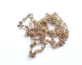 Rosary necklace unisex-rutilated quartz