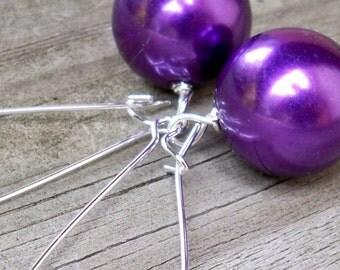 Revey - Large 16mm Round Metallic Purple Faux Pearl Beaded Silver Dangle Kidney Hoop Earrings