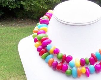 Flynt - Chunky Long Multicolor Jade Gemstone Beaded Necklace - Can Be WORN MULTIPLE WAYS - Colorful and Fabulous - Statement Necklace