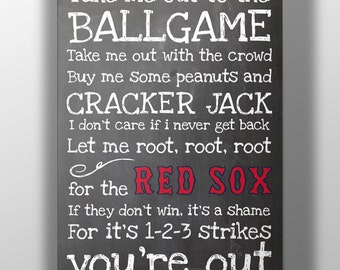Boston Red Sox- Take Me Out to the Ballgame Chalkboard Print