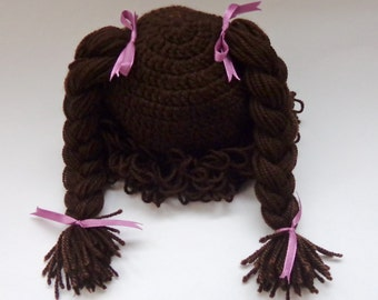 Cabbage Patch Kid Hat Inspired  Wig In Brown Or Choose your color and size Braid Pigtail Stylen