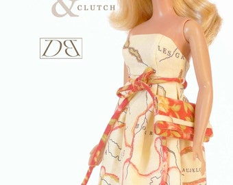 "Sewing pattern for 11 1/2"" doll (Barbie): Empire Sun Dress & Clutch"
